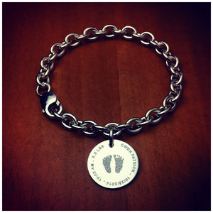 7/8 inch, Sterling Silver Disc Charm Bracelet Custom Engraved with Actual Baby Footprints