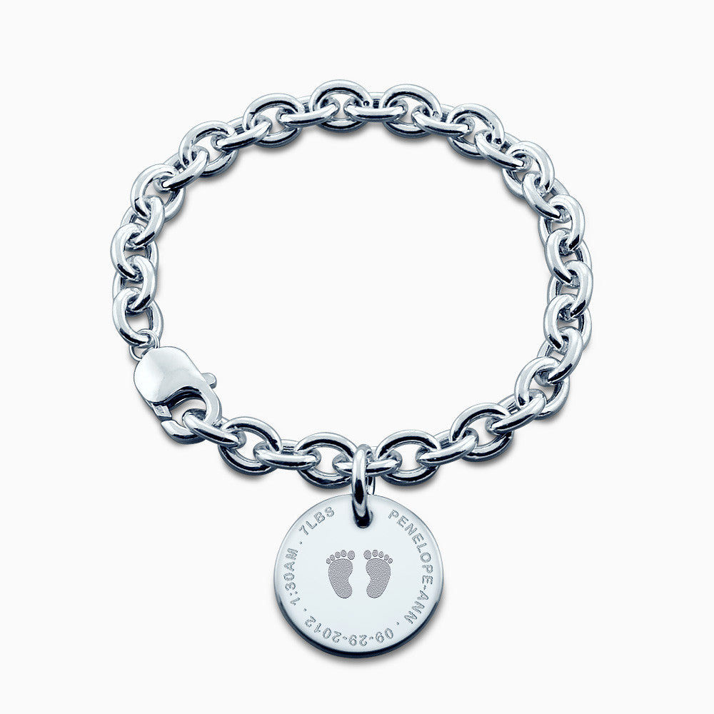 7/8 inch, Sterling Silver Engraved Baby Footprint Disc Charm Bracelet