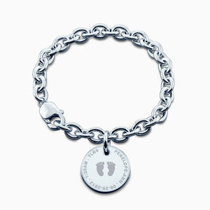 7/8 inch, Sterling Silver Custom Engraved Baby Footprint Disc Charm Bracelet