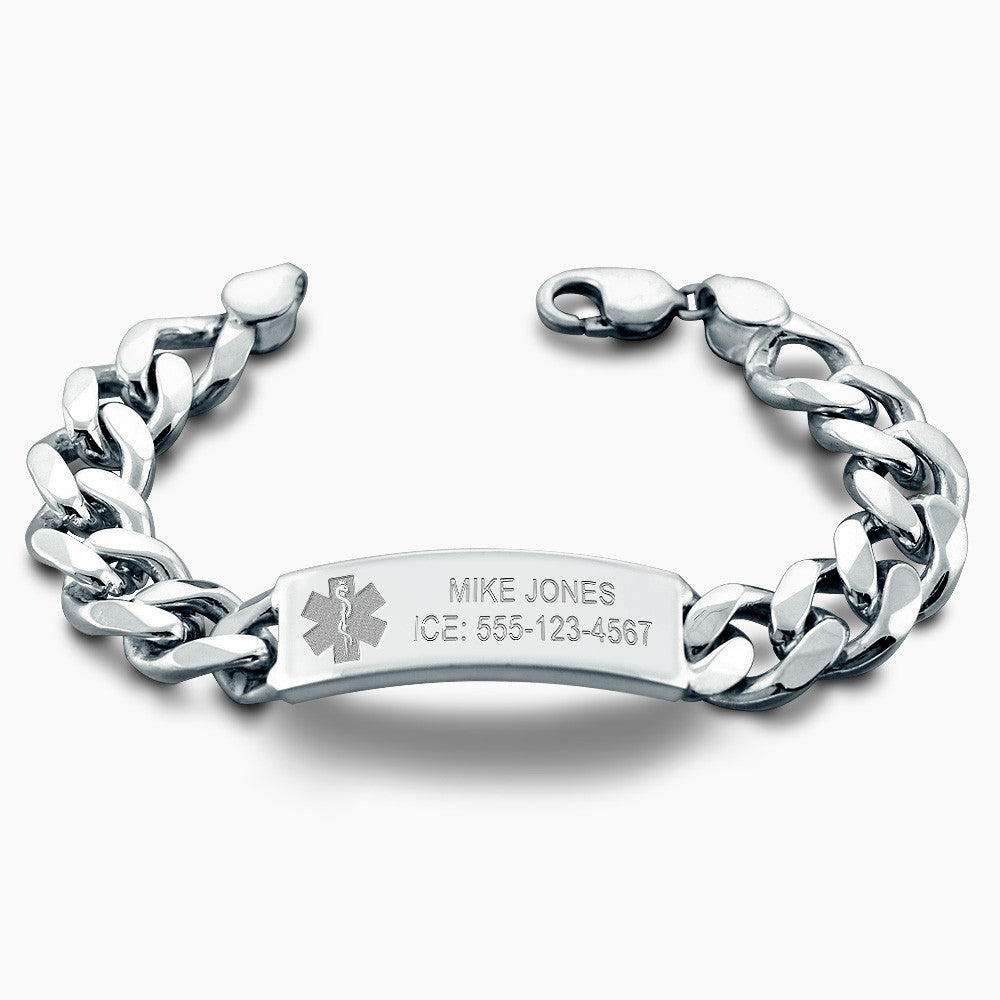Medical Alert Bracelets >> Men S Engraved Sterling Silver Cuban Link Medical Alert Id Bracelet 1 2 Inch Wide