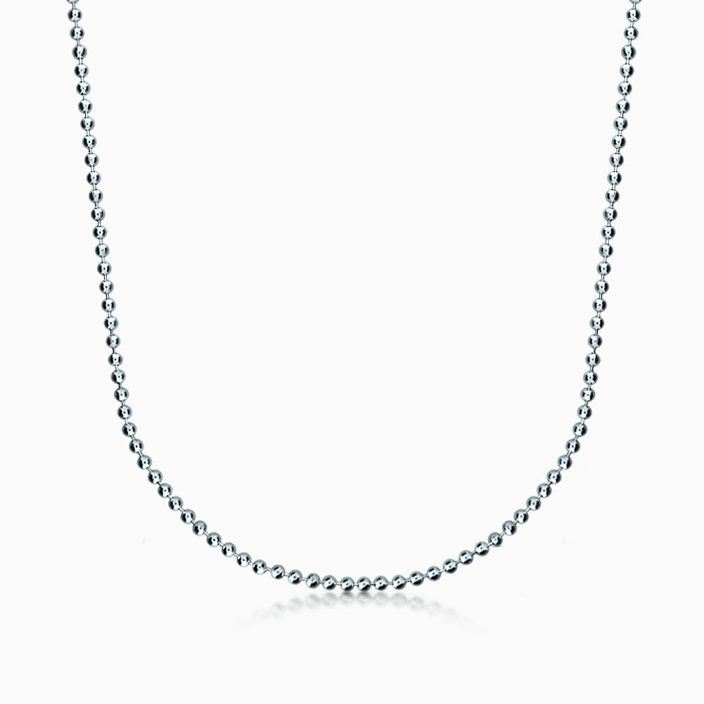Men's Sterling Silver 3 mm Military Ball Chain Necklace