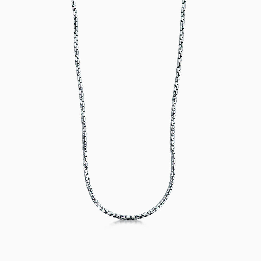 Men's Sterling Silver 1.5 mm Round Box Link Chain Necklace