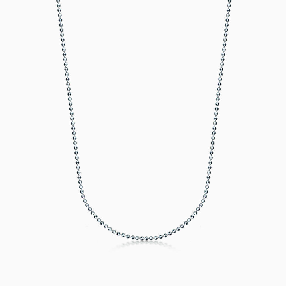 Men's 14k White Gold 1.5 mm Military Bead Chain Necklace