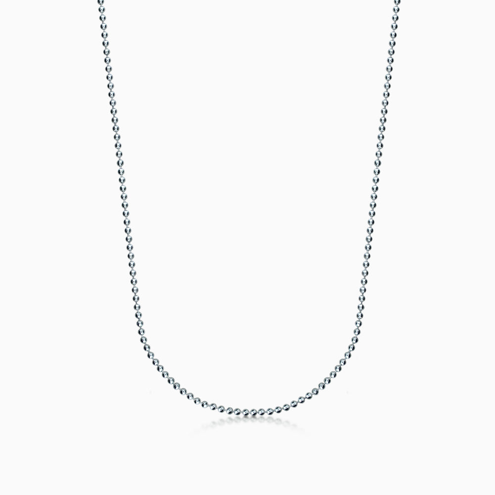 Men's 14k White Gold 2 mm Military Ball Chain Necklace, 20 inch