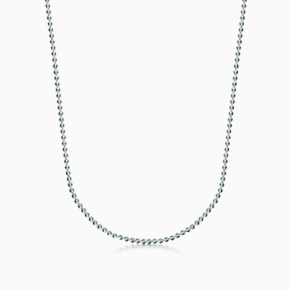 Men's 14k White Gold 2 mm Military Ball Chain Necklace