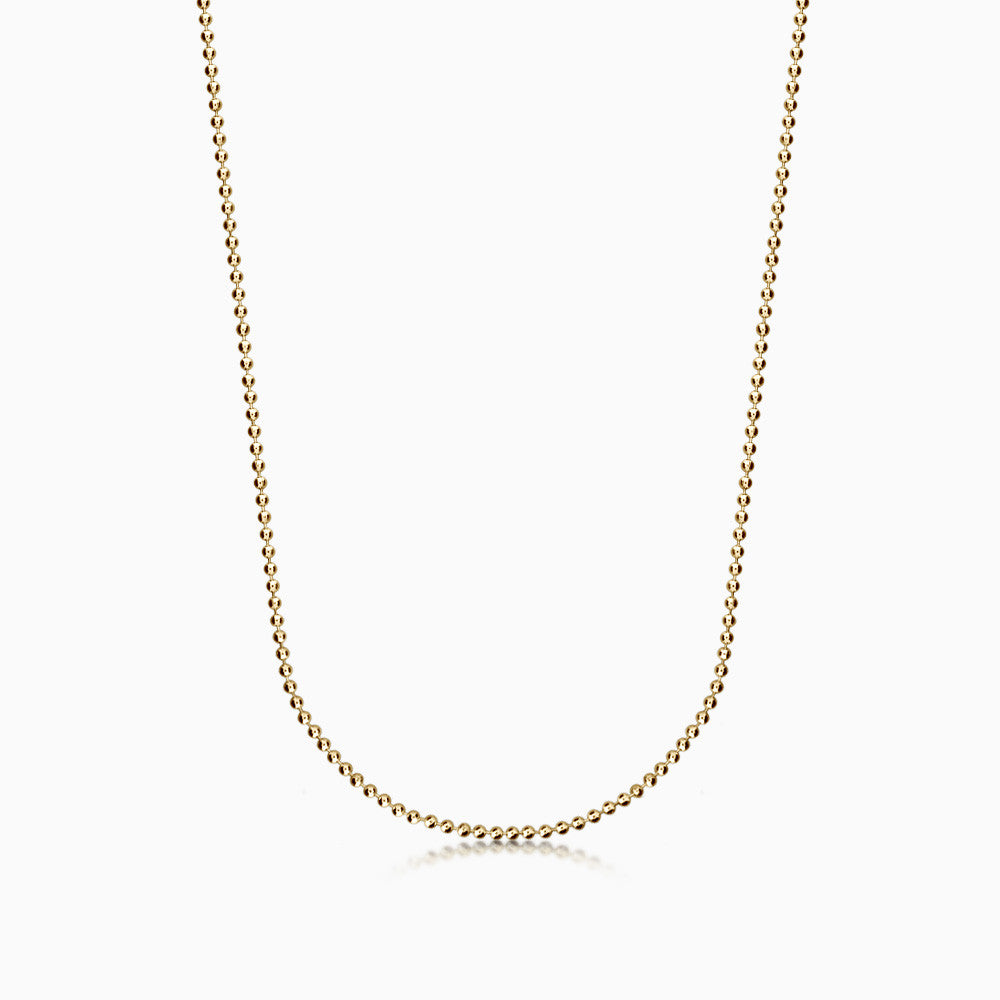 Men's 14k Yellow Gold 1.5 mm Military Ball Chain