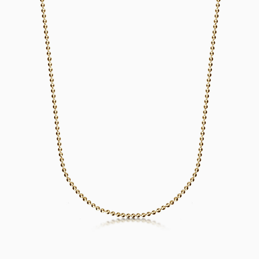 Men's 14k Gold 2 mm Military Ball Chain Necklace