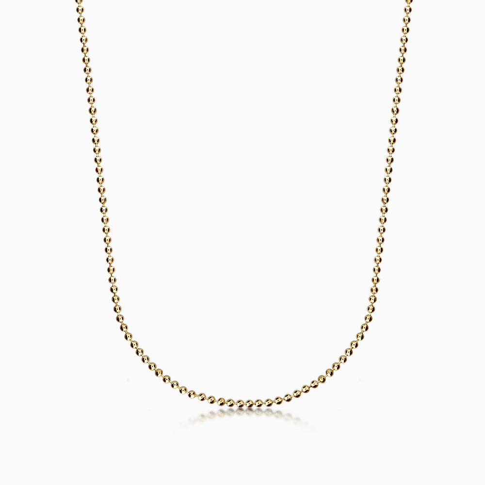 Men's 14k Yellow Gold 2 mm Military Ball Chain - 20 inch