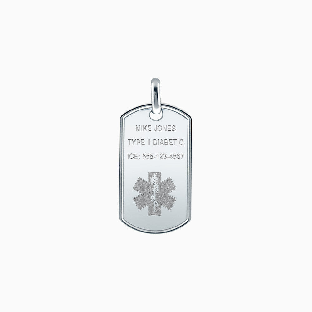 Men's Sterling Silver Medical Alert Star of Life Dog Tag - Large - Engraving Options