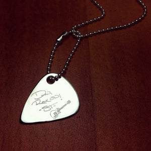 Mens Sterling Silver Guitar Pick Necklace Custom Engraved with Handwriting