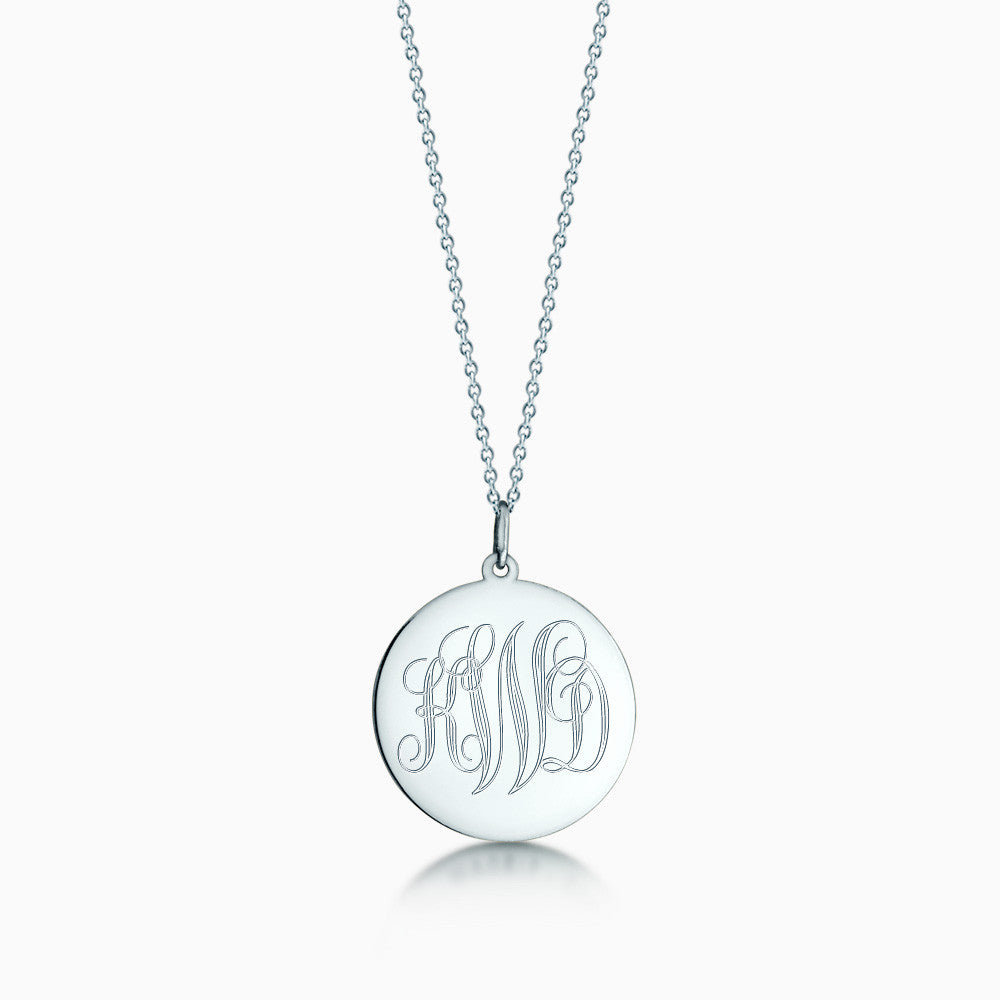 7/8 inch 14k White Gold Monogram Engraved Disc Charm Necklace