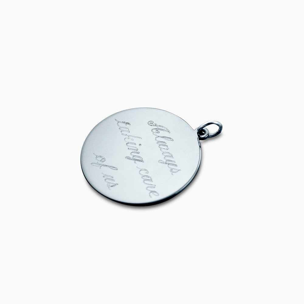 78 inch sterling silver engraved monogram disc charm pendant 78 inch sterling silver monogram disc charm pendant engraved on back with a text mozeypictures Choice Image