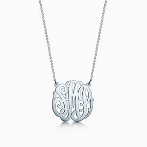 1.25 inch, 14k White Gold Cut Out Script Initial Monogram Necklace