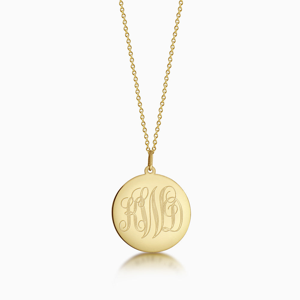 7/8 inch 14k Gold Monogram Engraved Disc Charm Necklace