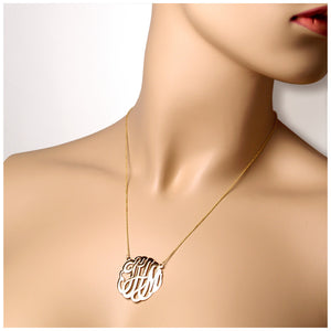 1.25 inch, 14k gold cut out script initial monogram necklace with 18 inch chain - Fit detail