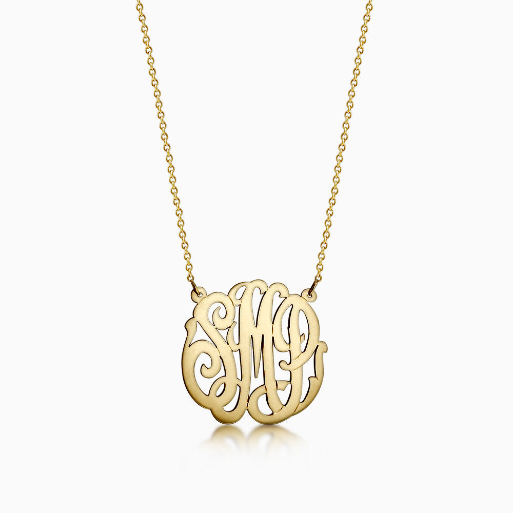 1.25 inch, 14k Gold Cut Out Script Initial Monogram Necklace