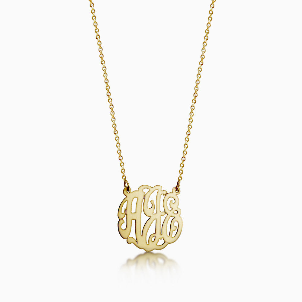 1 inch, 14k Gold Cut Out Script Initial Monogram Necklace with letters A, J, E.