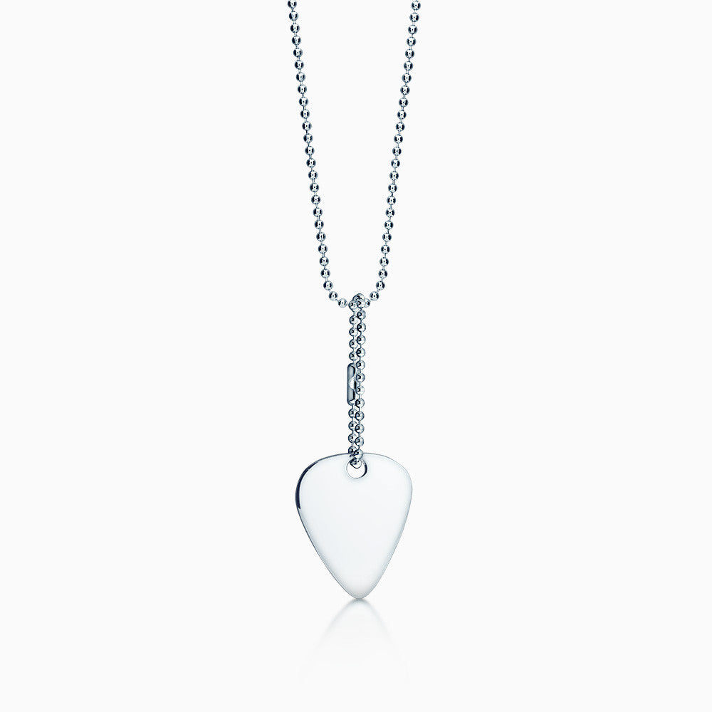 Mens Sterling Silver Guitar Pick Necklace w/ Bead Chain and Extension (Engraved)