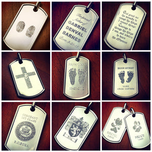 Men's Large Sterling Silver Raised Edge Dog Tags - Custom Engraved