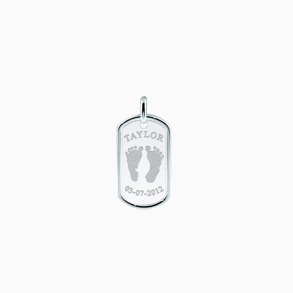 Men's Engraved Baby Footprint Sterling Silver Dog Tag - Medium