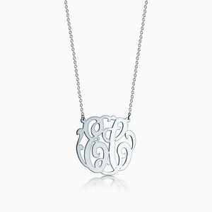 1.25 inch, 14k White Gold Cutout Script 2-Initial Monogram Necklace