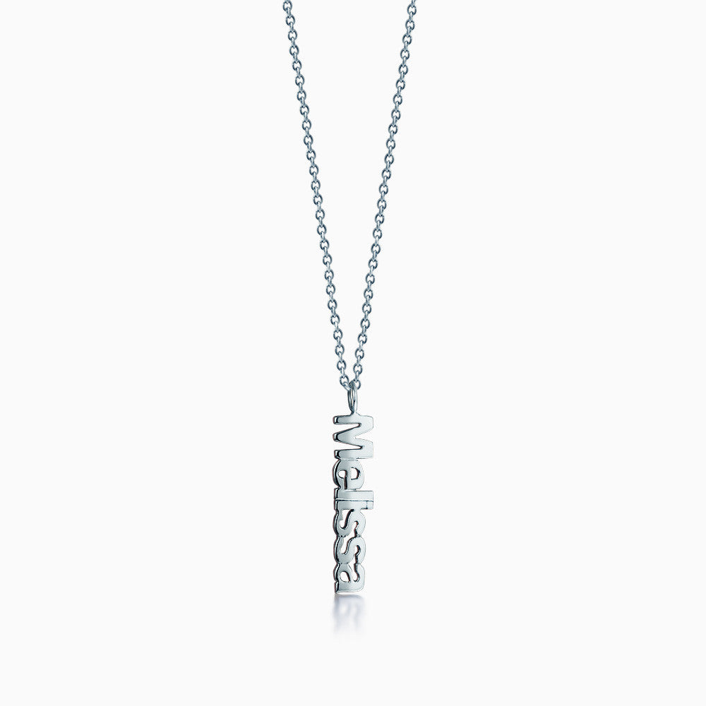 14k White Gold Personalized Cutout Name Charm Necklace on Link Chain