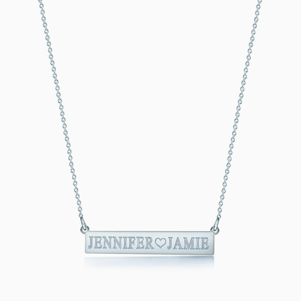 1.25 inch, 14k White Gold Personalized Horizontal Name Bar Necklace Engraved with 2 Names and a Heart Symbol