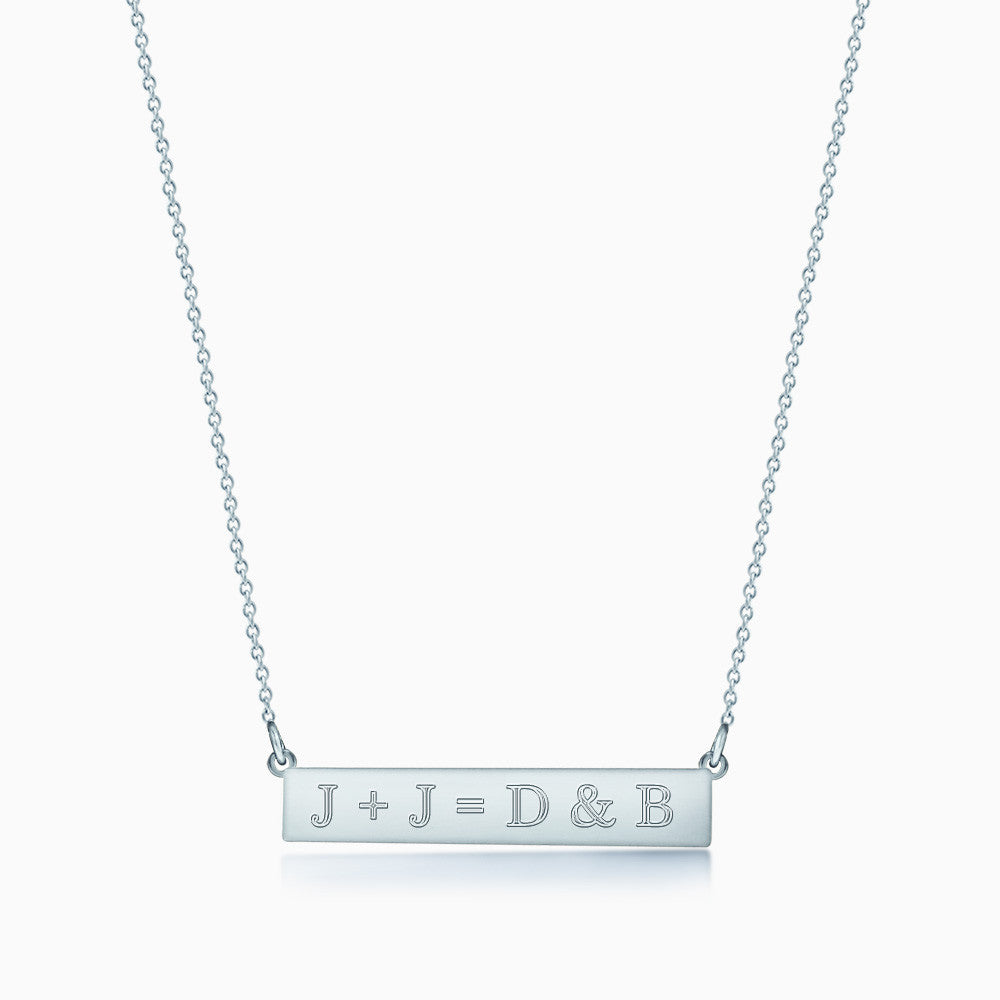 1.25 inch, Sterling Silver Personalized Horizontal Name Bar Necklace Engraved with a Life Equation J+J=D&B