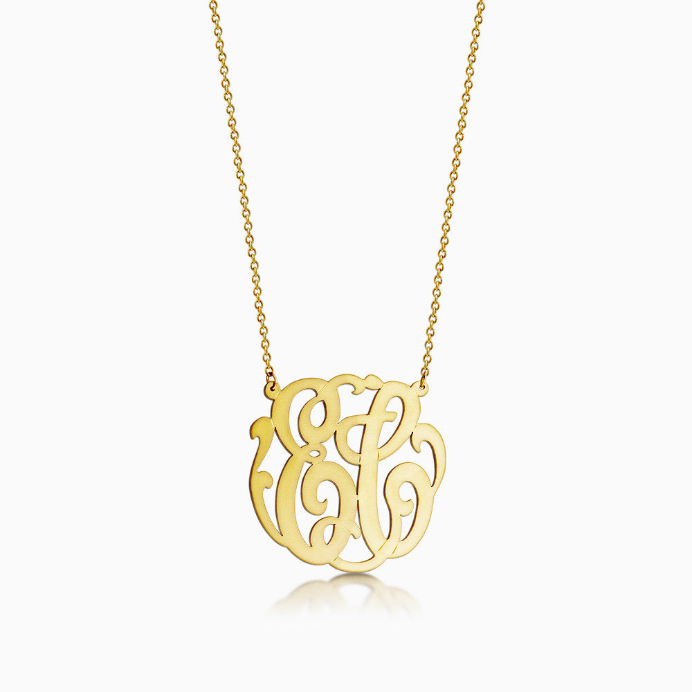 1.25 inch, 14k Gold Plated Cutout 2-Initial Script Monogram Necklace