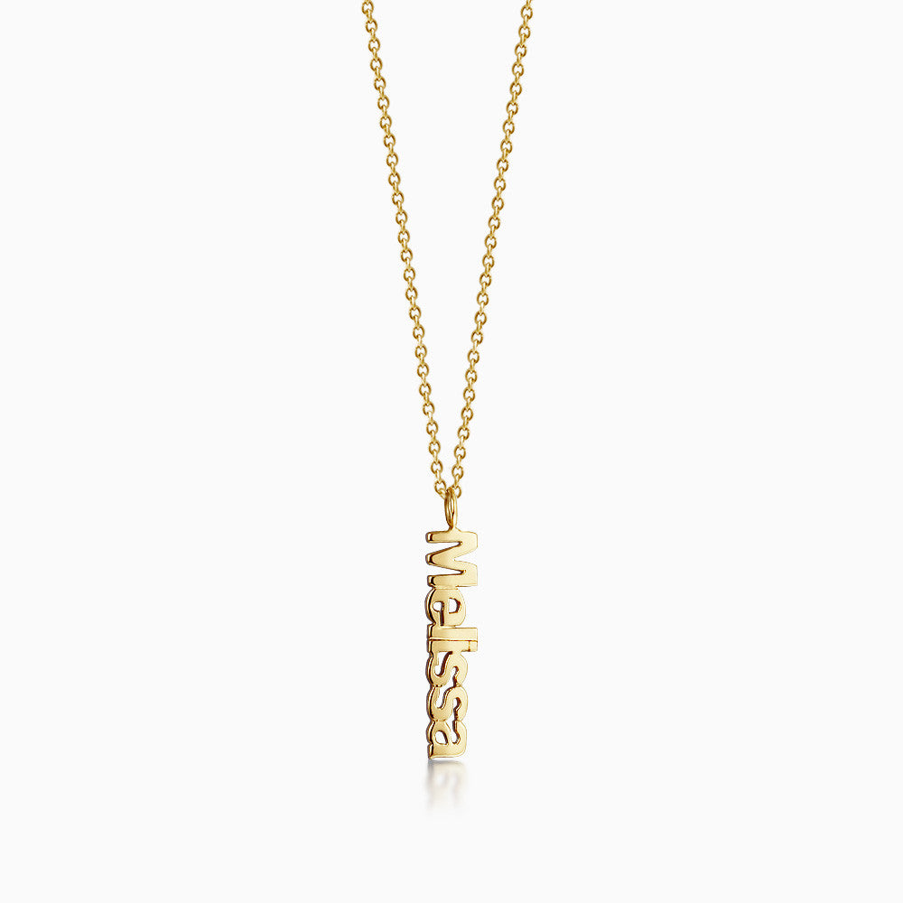 14k Gold Cutout Name Charm Necklace