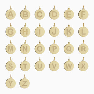1/2 inch, 14k Gold Etched Initial Disc Charm Pendants - Alphabet
