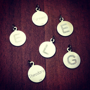 1/2 inch, 14k Gold Etched Initial Disc Charm Pendants - Customer Samples