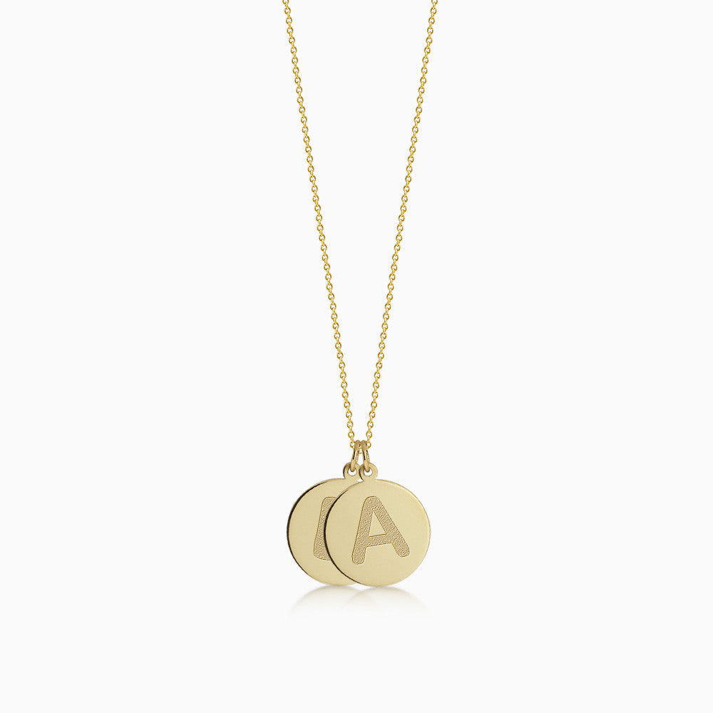 Double, 1/2 inch, 14k Yellow Gold Etched Engraved Initial Disc Charm Necklace