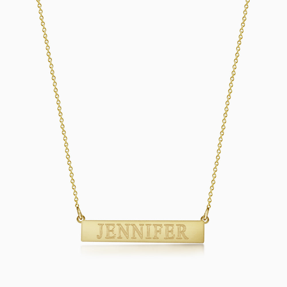 1.25 inch, 14k Yellow Gold Personalized Horizontal Name Bar Necklace (Engravable)
