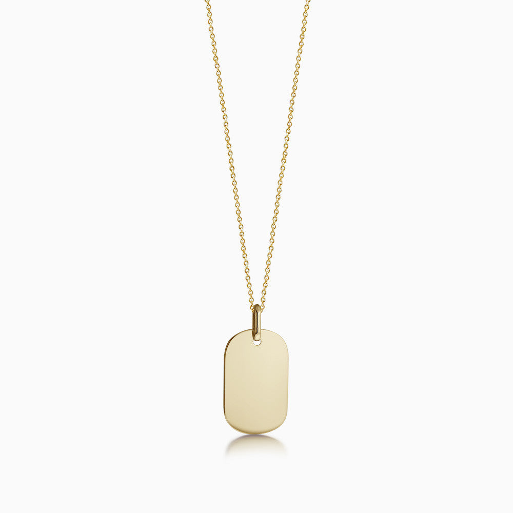 Engravable Women's 14k Gold Flat Dog Tag Necklace w/ Link Chain - Small