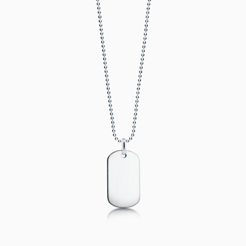 Men's Sterling Silver Flat Edge Dog Tag Necklace w/ Bead Chain - Medium