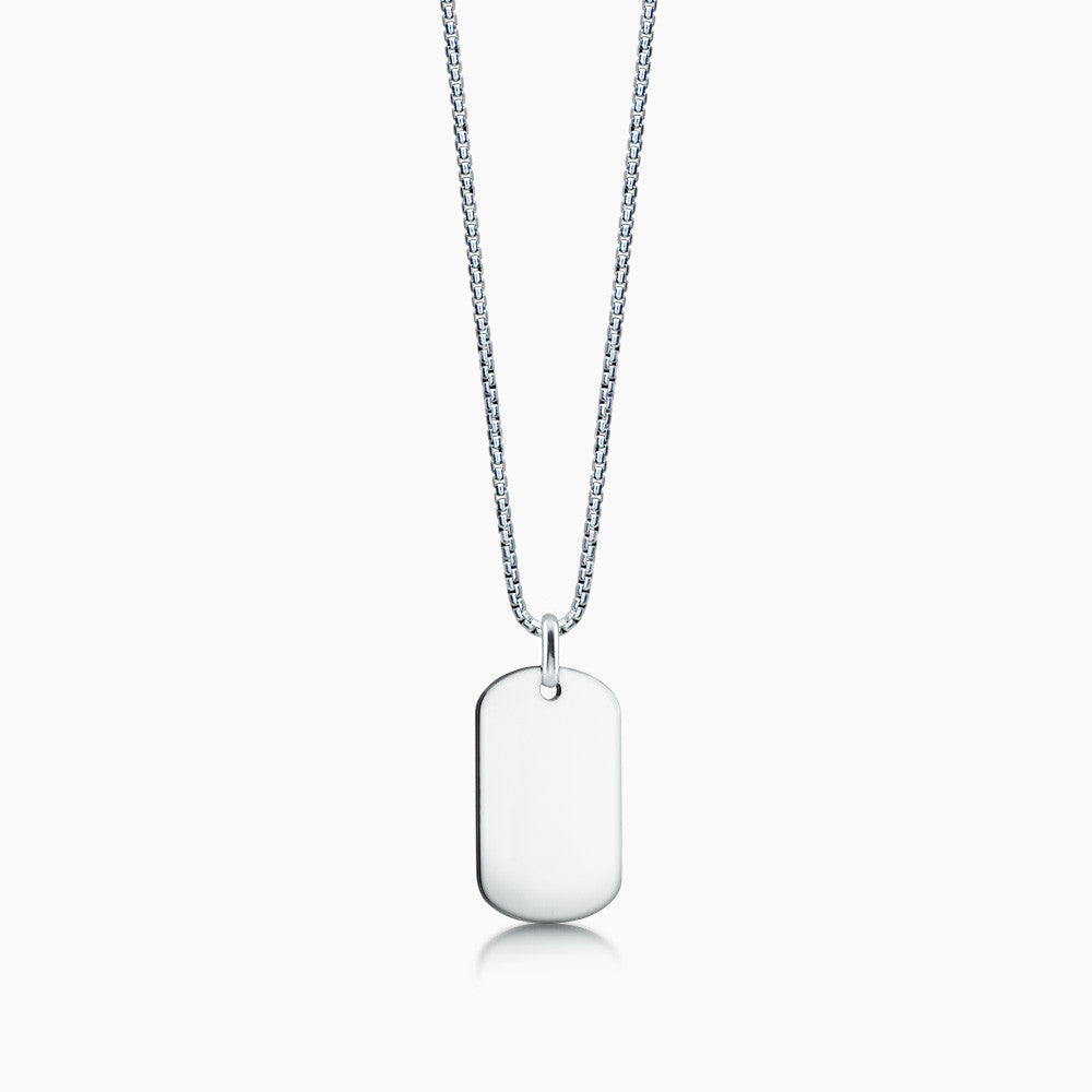 Men's Sterling Silver Dog Tag with Box Link Chain - Engravable