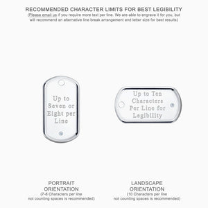 Medium Engravable Men's Sterling Silver Raised Edge Single Diamond Dog Tag Slider - Text Engraving Options