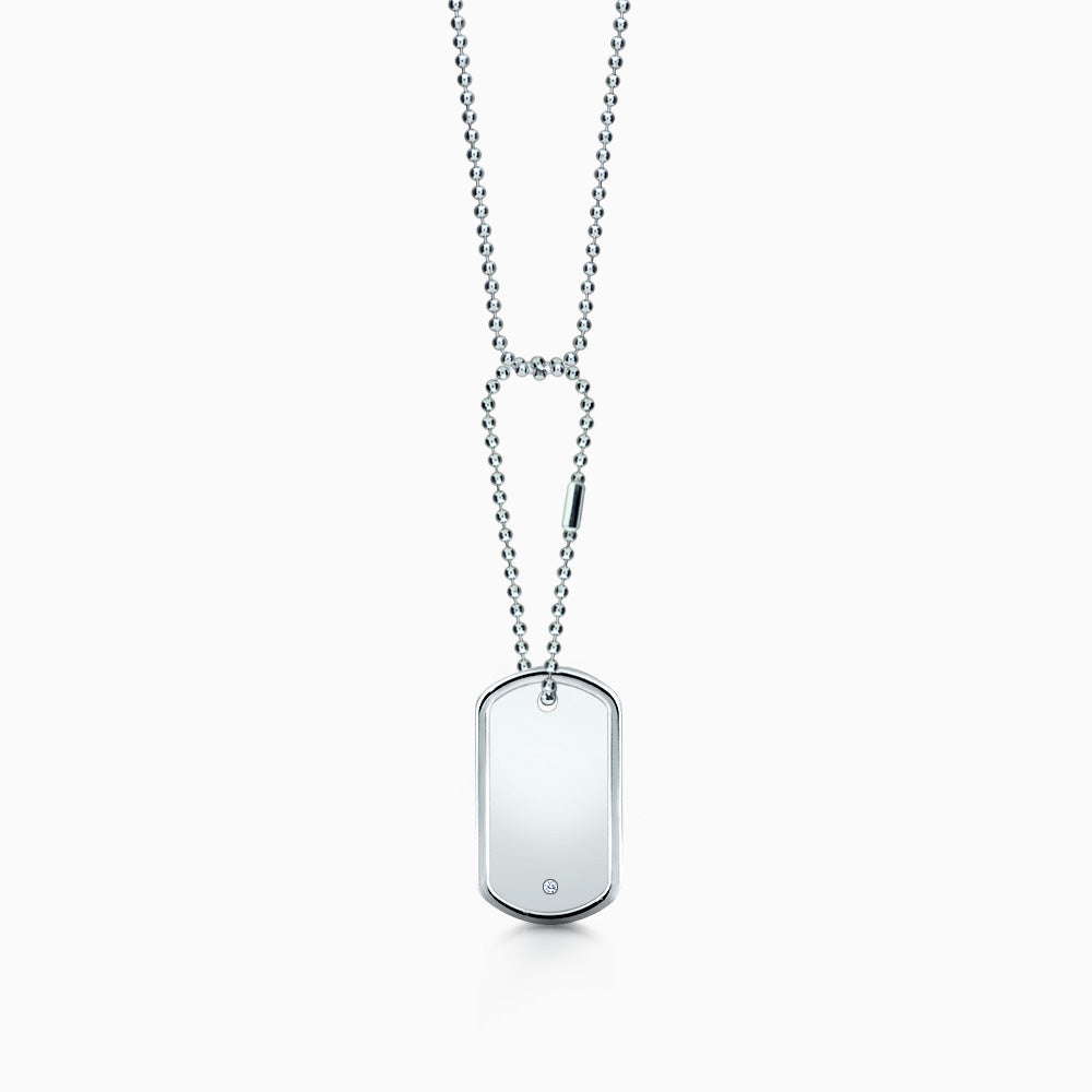 Men's Sterling Silver Raised Edge Single Diamond Dog Tag Slider Necklace w/ Ball Chain and Extension Loop - Medium (Engravable)