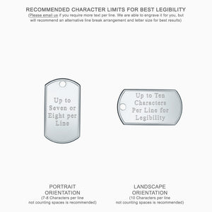 Large Engravable Mens Sterling Silver Raised Edge Dog Tag Slider Necklace - Text Engraving Options