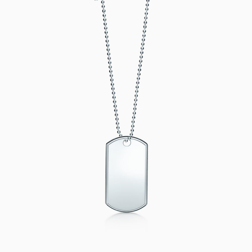 Large Engravable Mens Sterling Silver Raised Edge Dog Tag Slider Necklace with Military Ball Chain