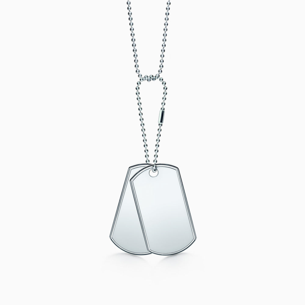 Engravable Men's Double Sterling Silver Raised-Edge Dog Tag Slider Necklace with Bead Chain and Extension Loop - Large