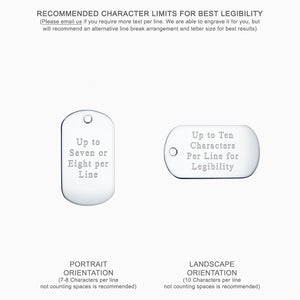 Text Engraving Options for Medium Engravable Sterling Silver Smooth-Edge Dog Tag Slider