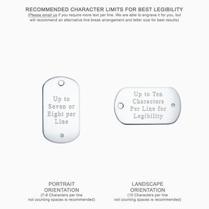 Medium Engravable Mens Sterling Silver Single Diamond Dog Tag Slider - Text Engraving Options
