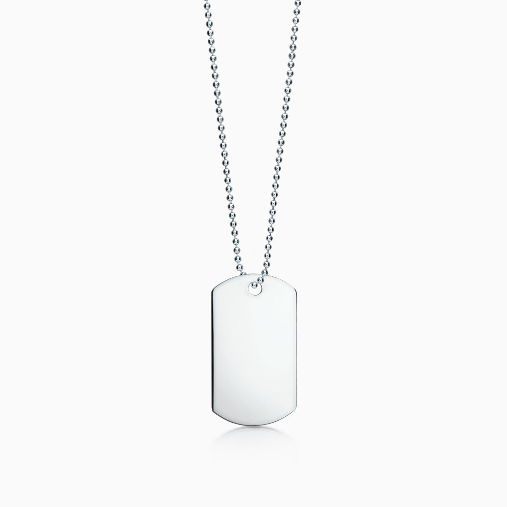 Men's Large Sterling Silver Flat Edge Dog Tag Slider Necklace w/ Ball Chain (Engravable)