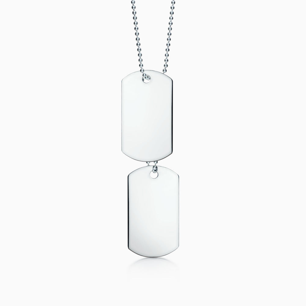 Men's Double Large Sterling Silver Flat Edge Dog Tag Slider Necklace w/ Ball Chain and Extension Loop (Engravable)