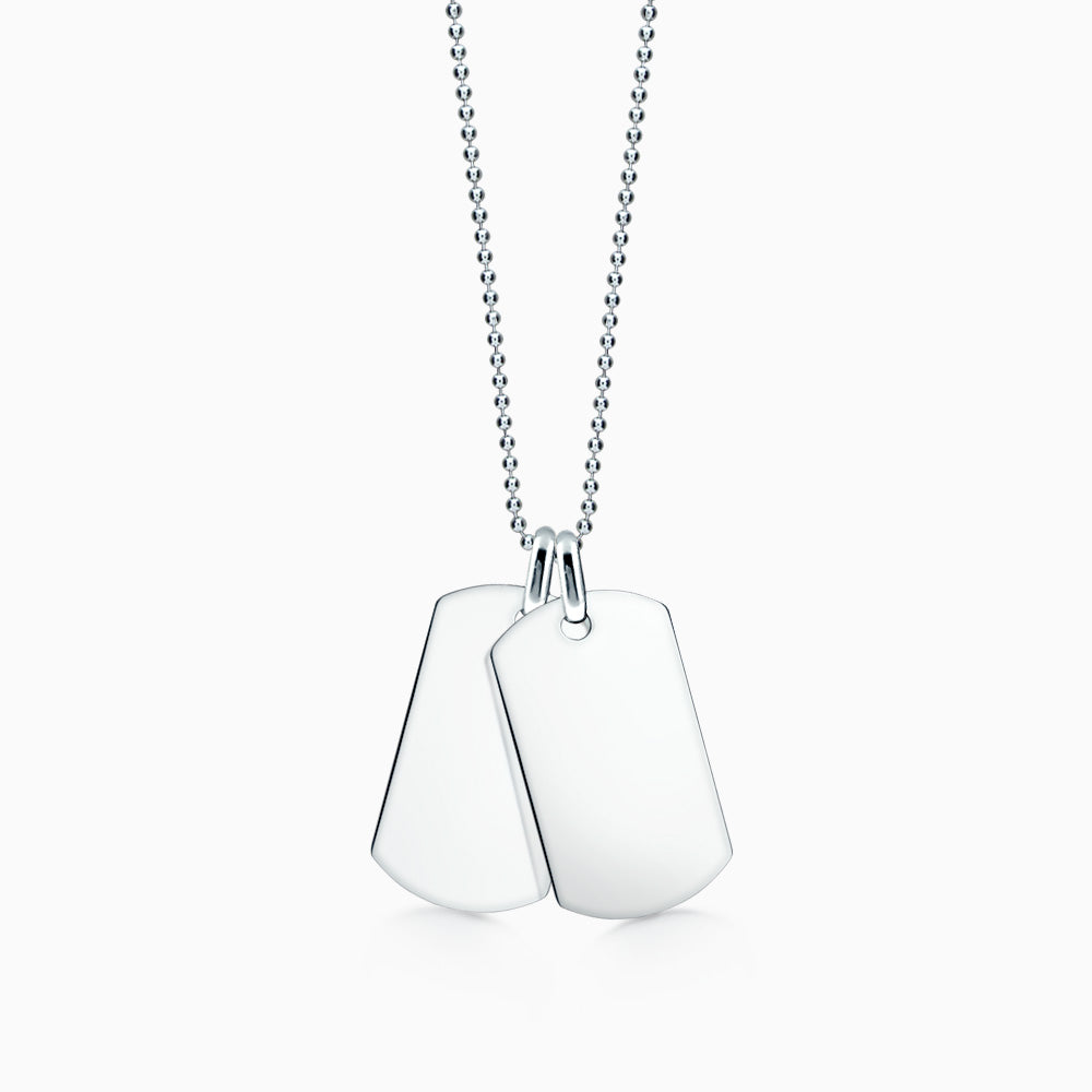 Men's Double Large Sterling Silver Flat Edge Dog Tag Necklace w/ Ball Chain (Engravable)