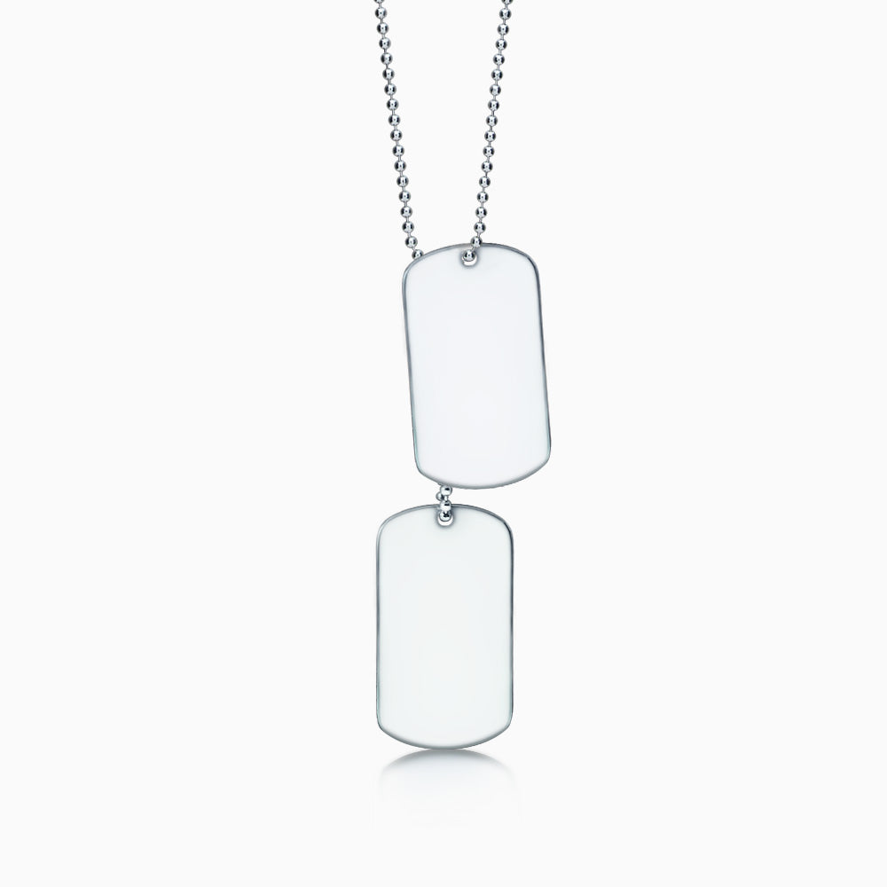 Men's Stainless Steel Double Dog Tag Necklace w/ Ball Chain Extension