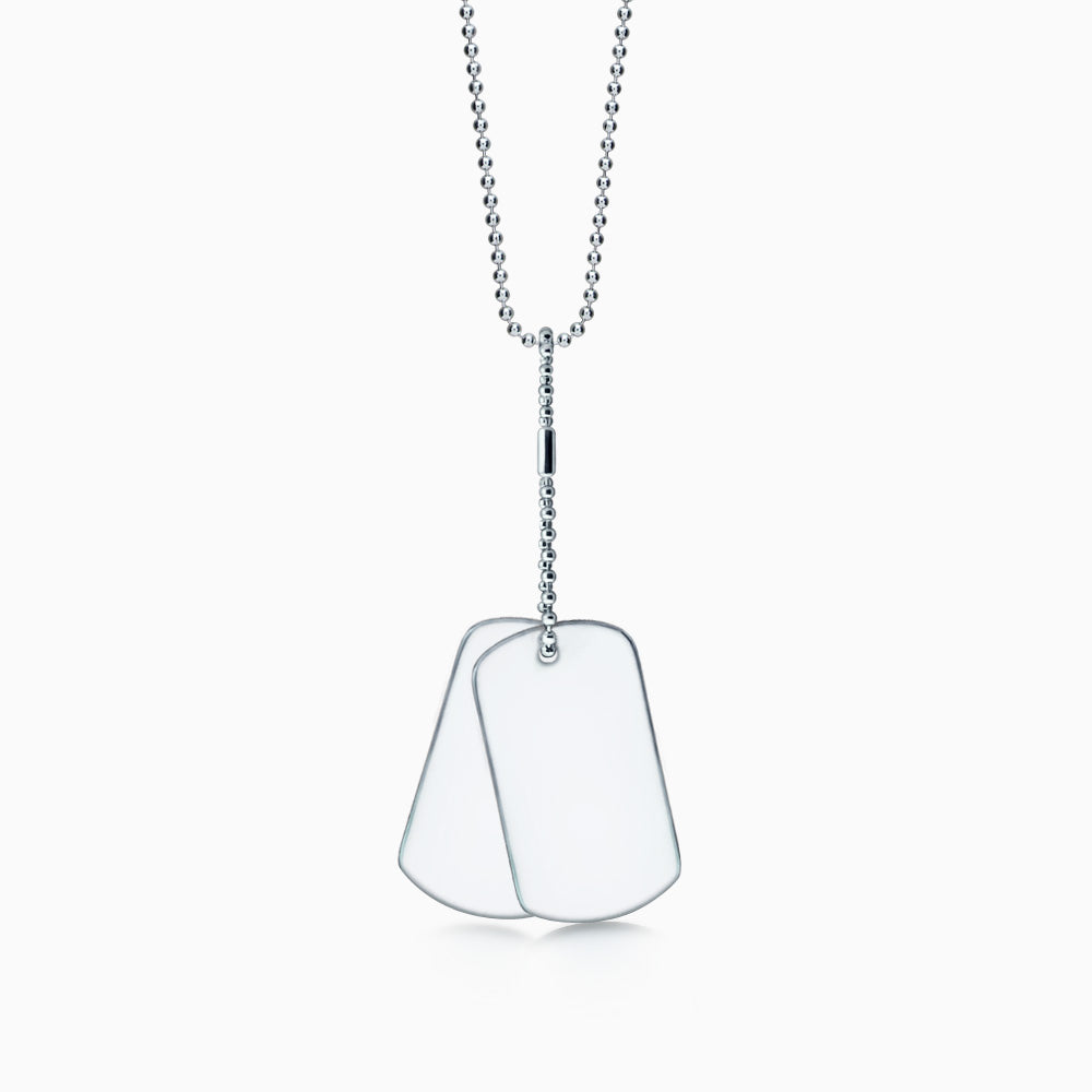 Men's Stainless Steel Double Dog Tag Necklace w/ Military Ball Chain and Extension - Large (Engravable)
