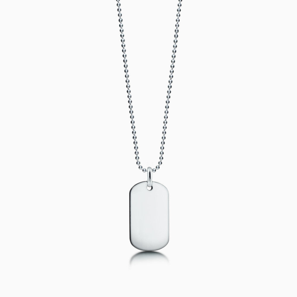 Men's 14k White Gold Flat Edge Dog Tag Necklace w/ Bead Chain - Medium (Engravable)